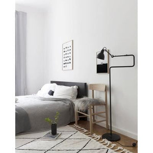 Gras N411 Floor Lamp, Round Black Shade