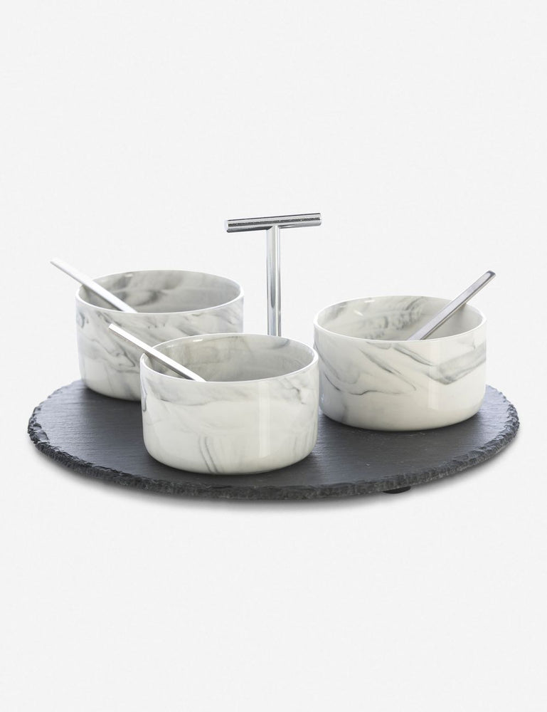 Load image into Gallery viewer, Mirielle Condiment Set, Slate and Marble