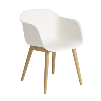Fiber Armchair Wood Base, White, Oak