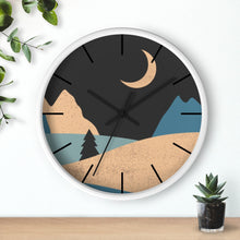 Load image into Gallery viewer, Wall Clock, Clocks, Mountain Night, Organic Theme, Wooden Clock, Time, Wall Decor, Midnight, Wood, Plexiglass, Decor, Home Decor, Gifts