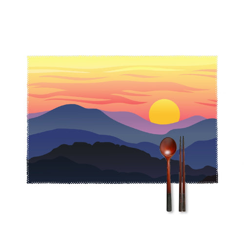 Four-piece Placemats, Mountain Sunrise