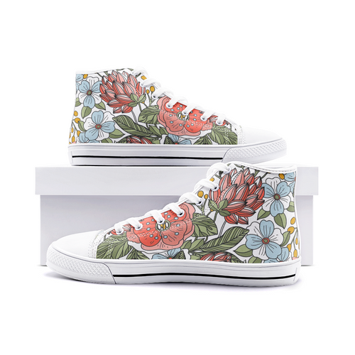 High Top Sneakers, Unisex High Top Floral Canvas Shoes, Lace Up
