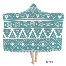 Load image into Gallery viewer, Hooded Blanket Southwestern Turquoise