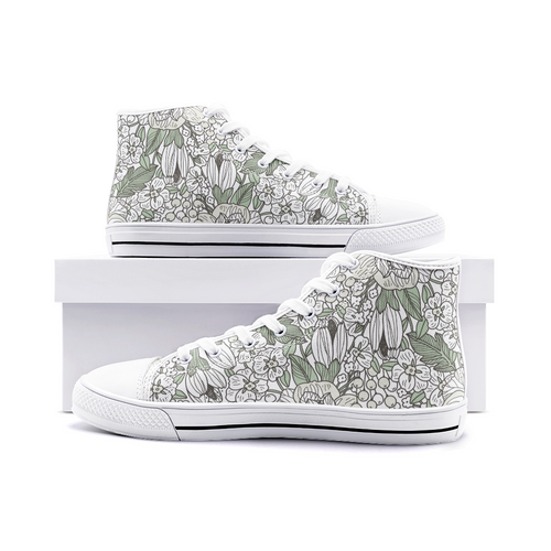 High Top Sneakers, Unisex High Top Floral Canvas Shoes