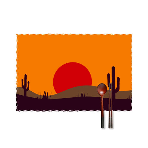 Four-piece Placemats, Desert Scene