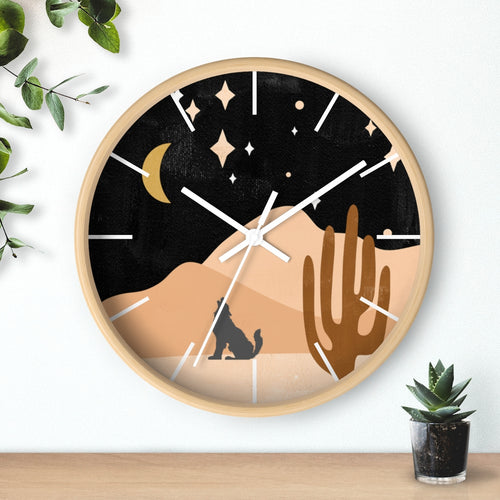 Wolf Mountain Night Wall Clock
