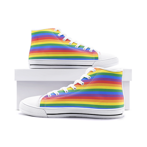 Rainbow High Top Canvas Shoes Unisex Men & Womens Sneakers