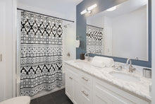 Load image into Gallery viewer, Aztec Print Shower Curtain | Southwestern Bathroom Decor