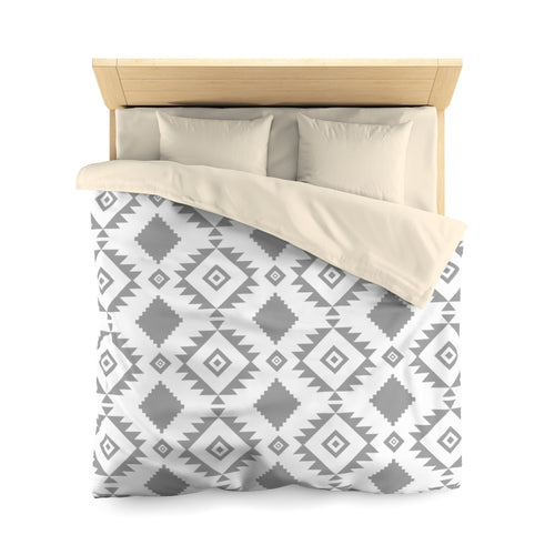 Duvet Cover, Southwest, White/Gray | Microfiber Duvet Bed Comforter Cover