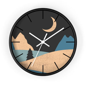 Wall Clock, Clocks, Mountain Night, Organic Theme, Wooden Clock, Time, Wall Decor, Midnight, Wood, Plexiglass, Decor, Home Decor, Gifts