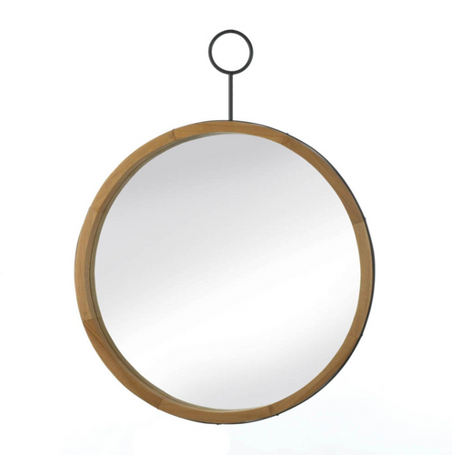 Mirror, Wall Mirror, Modern Eva Round Wood Mirror With Hook