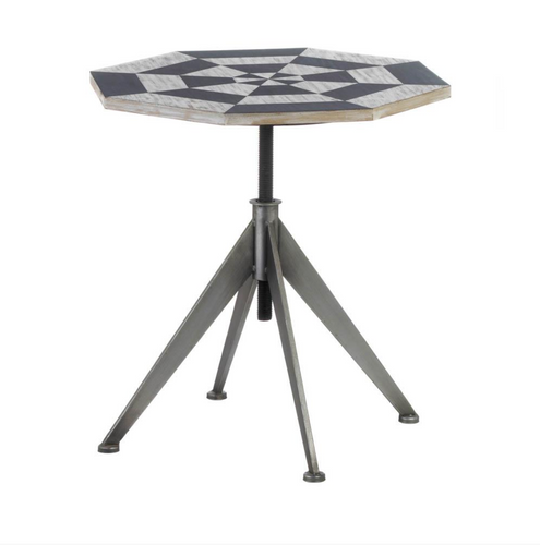 Accent Table, Black And White Checker Side Table