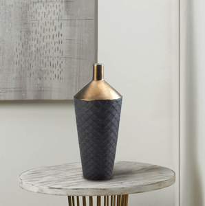Modern Vase, Lucca Black And Gold Porcelain Vase
