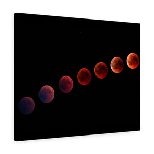 Wall Art Canvas, Red Moon Phases, Wall Art, Wall Decor, Canvas Print, Space Print