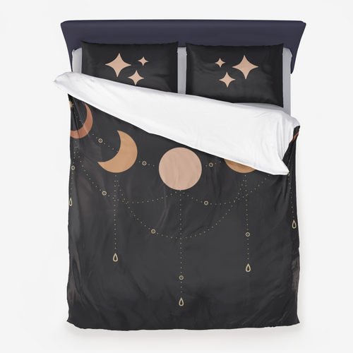 Microfiber Duvet Cover 3 Piece Set, Celestial Moon Phases