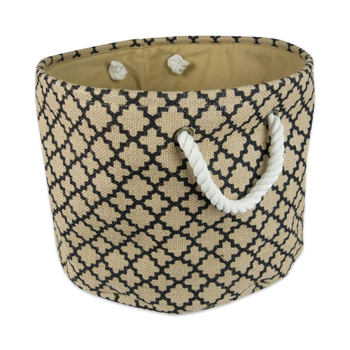 Laundry Basket, Storage Basket, Large Burlap Bin Lattice Black Round