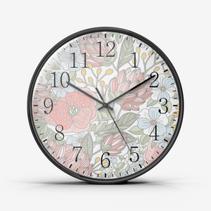 Wall Clock Silent Non Ticking Quality Quartz Floral Design