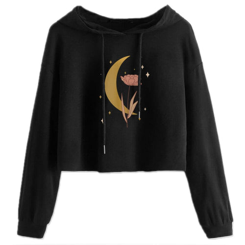 Women's Cropped Hoodie Moon Flower
