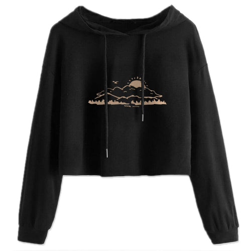 Women's Cropped Hoodie, Sunrise Mountain