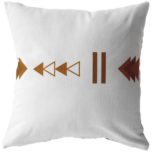 Accent Pillow, Geo Triangle Terra Cotta Brown & White