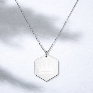 Necklace, Queen Necklace, Engraved Silver Hexagon Necklace