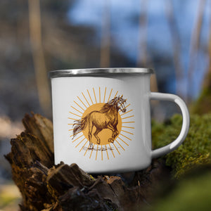 Galloping Horse Mug | Campfire Enamel Mug | Gifts for Her | Horse Cup