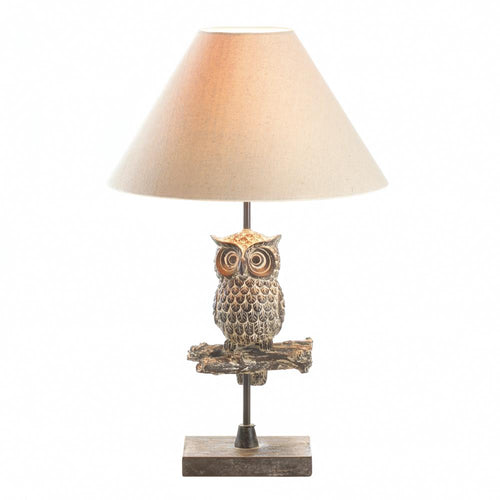 Table Lamp, Rustic Lamp, Owl Lamp, Lighting, Cabin Decor