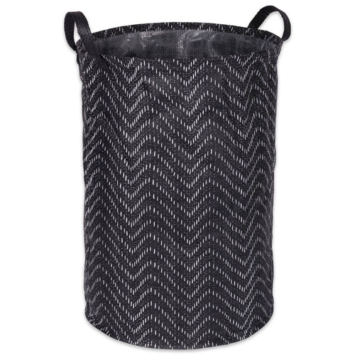 Laundry Basket, PE Coated Woven Paper, Laundry Hamper Tribal Chevron Black/White Round