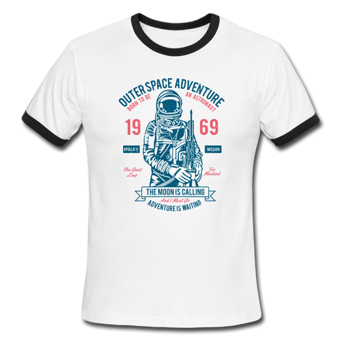 Ringer T-Shirt, Space Tee, Outer Space, Astronaut, Vintage Style, Ringer T Shirt - white/black