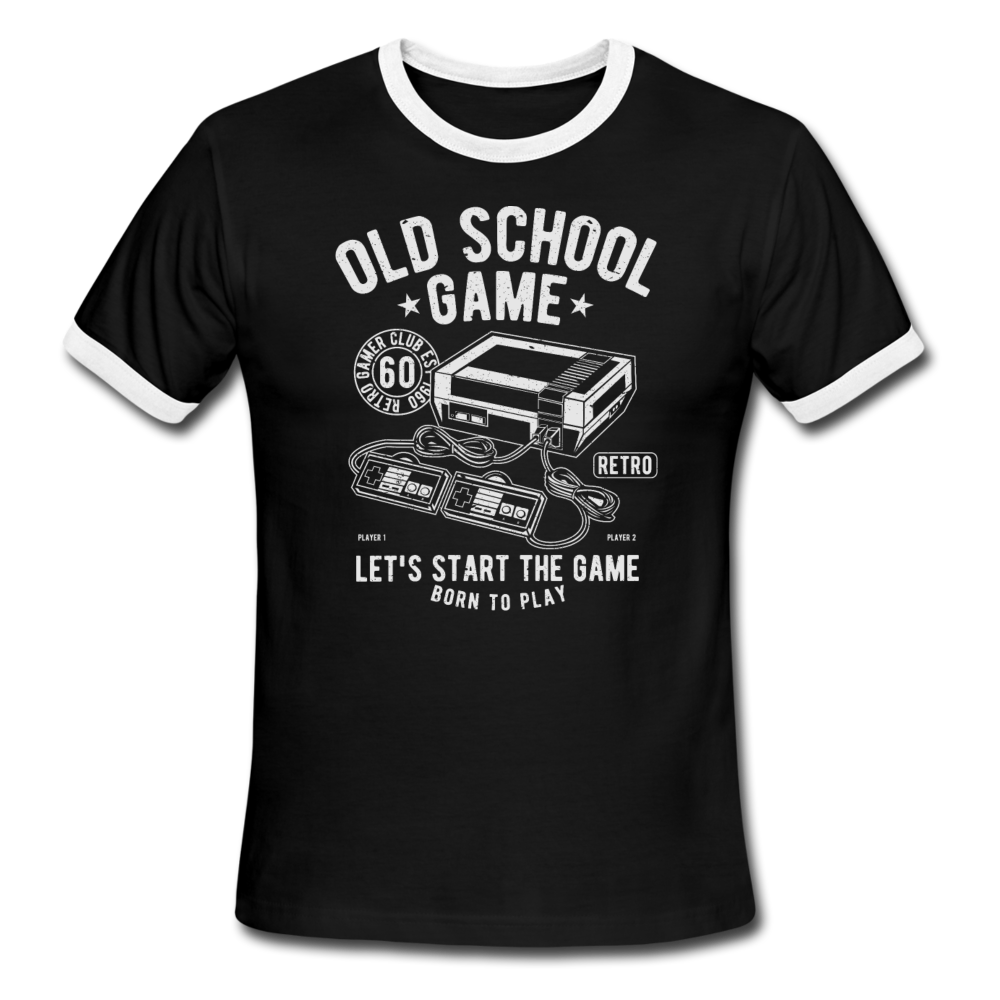 Gaming, Ringer T-Shirt, Old School, Vintage Style Tee, T-Shirt, Retro - black/white