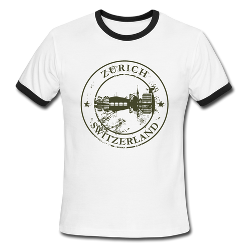 Zurich Switzerland, Ringer T-Shirt, Travel, Vintage Style Tee, T-Shirt, Ringer - white/black