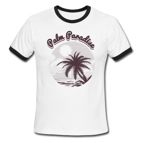 Palm Paradise, Ringer T-Shirt, Travel, Vintage Style Tee, T-Shirt, Ringer - white/black