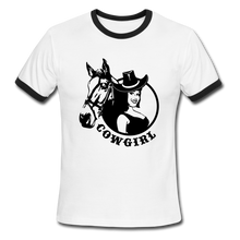 Load image into Gallery viewer, Cowgirl, Ringer T-Shirt, Vintage Style Tee, T-Shirt, Western - white/black