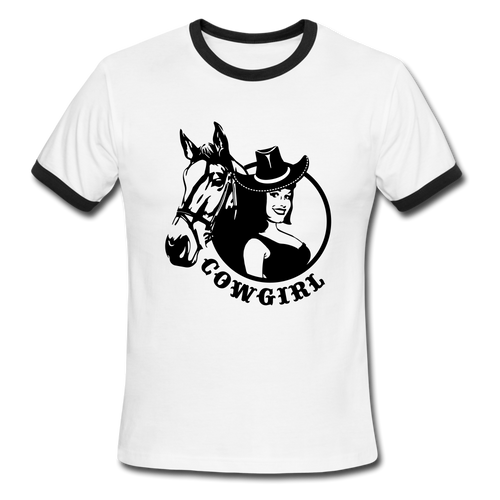 Cowgirl, Ringer T-Shirt, Vintage Style Tee, T-Shirt, Western - white/black