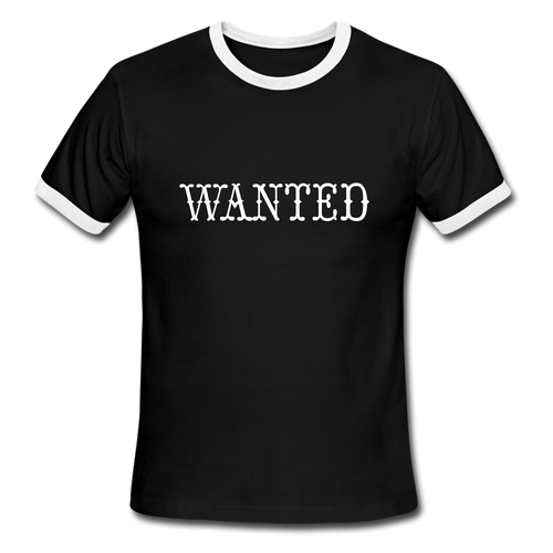 Wanted, Ringer T-Shirt, Vintage Style Tee, T-Shirt, Western - black/white