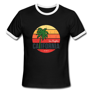 LA, California, Ringer T-Shirt, Vintage Style Tee, T-Shirt, Beach - black/white