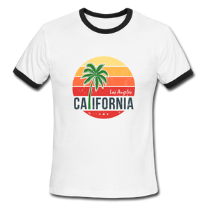 LA, California, Ringer T-Shirt, Vintage Style Tee, T-Shirt, Beach - white/black