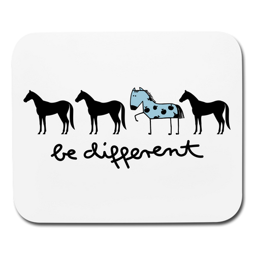 Mouse Pad Be Different Horses Horizontal - white