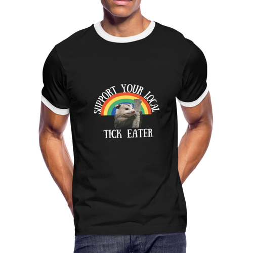Ringer T-Shirt Unisex Black Tee Funny Support Your Local Tick Eater Tee - black/white