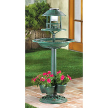 Load image into Gallery viewer, Bird Bath, Solar Light, Verdigris Garden Centerpiece