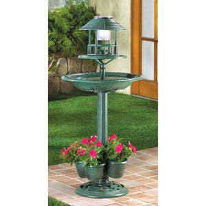 Bird Bath, Solar Light, Verdigris Garden Centerpiece
