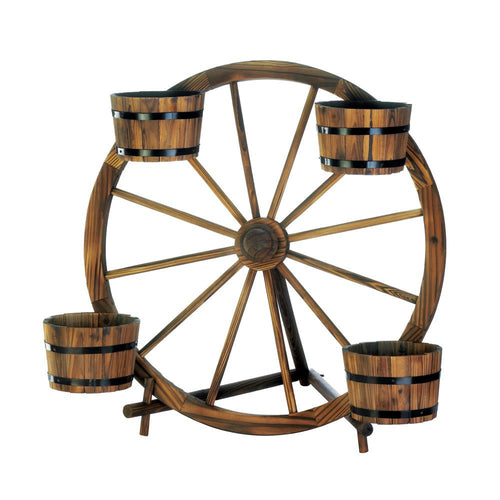 Plant Stand, Planter Stand, Wagon Wheel Barrel Planter Display