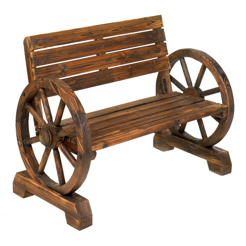 Outdoor Bench, Wooden Bench, Wagon Wheel Bench