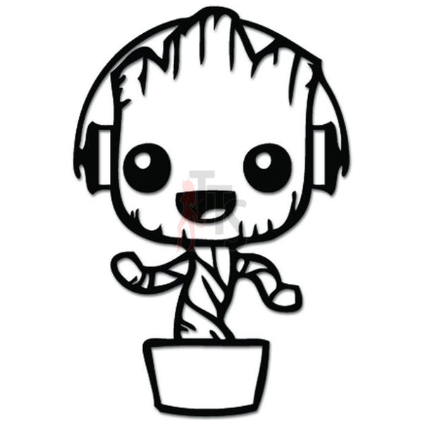 Baby Groot Groovy Music Headphone Decal Sticker
