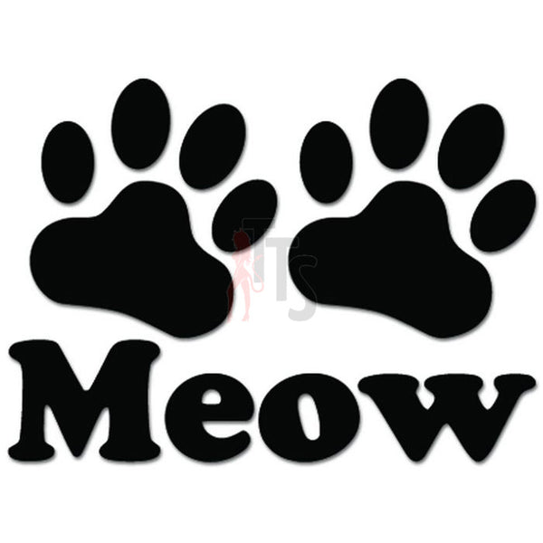 Meow Cat Paw Love Pet Decal Sticker