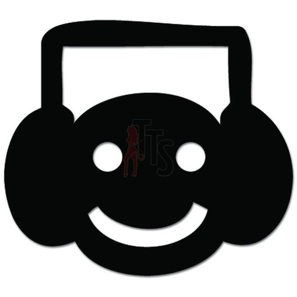 Smiley DJ Dance Club Headphones Decal Sticker