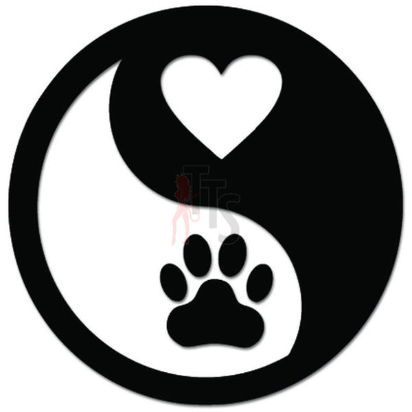Dog Love Paw Pet Ying yang Decal Sticker