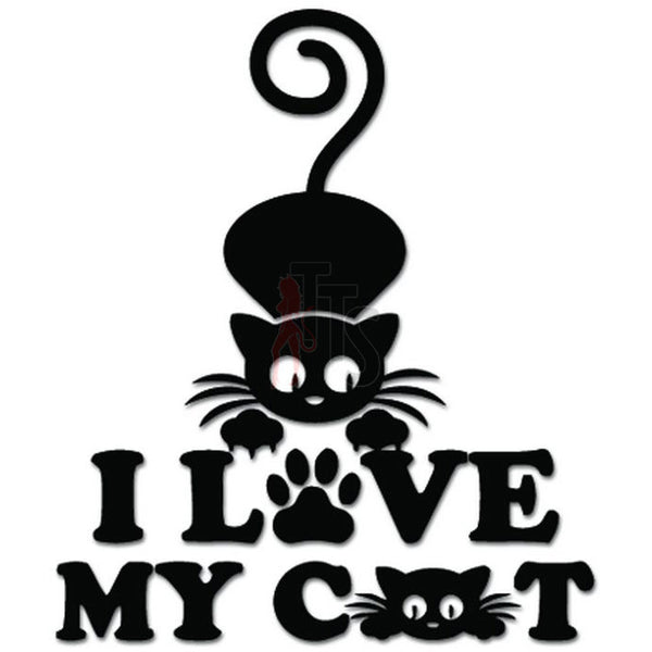 I Love My Cat Kitten Paw Decal Sticker