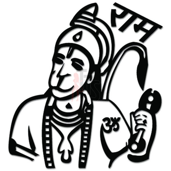 Om Aum Pawan Putra Hanuman Decal Sticker