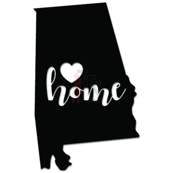 Home Is Where The Heart Is Alabama State Map Decal Sticker